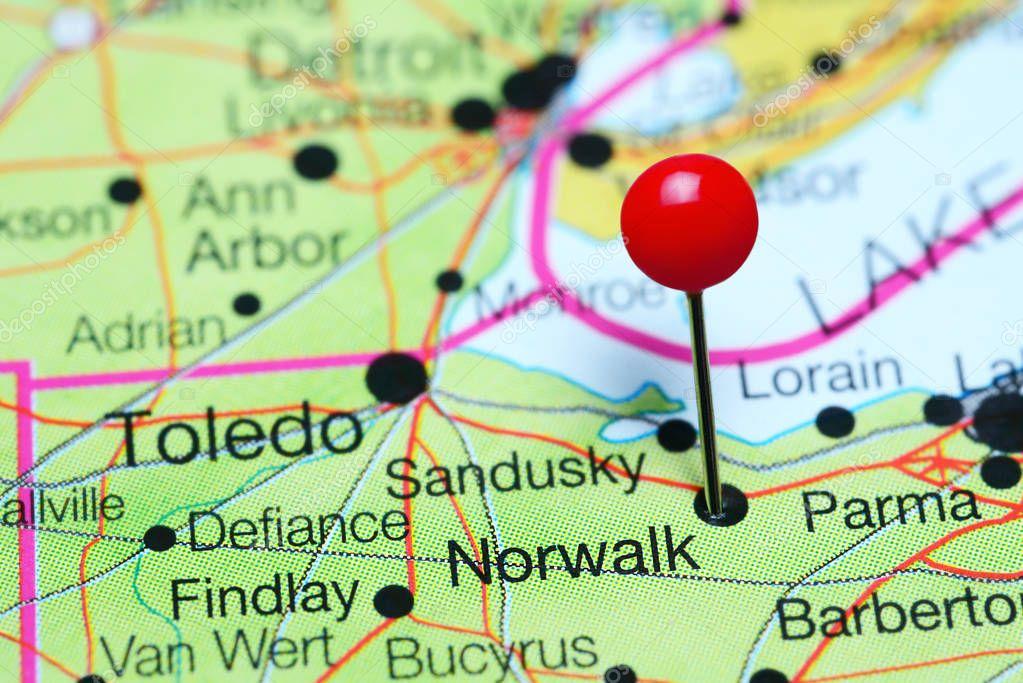 Norwalk Pinned On A Map Of Ohio Usa Stock Photo C Dk Photos