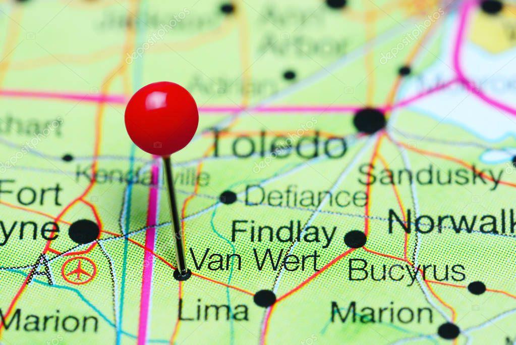 Van Wert Pinned On A Map Of Ohio Usa Stock Photo