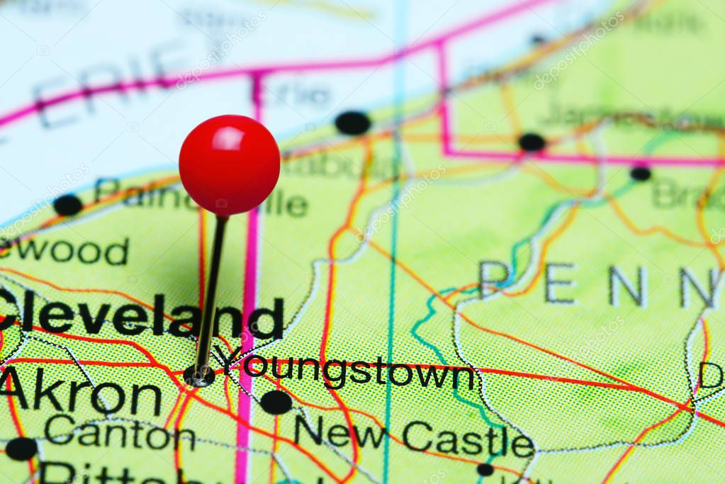 Youngstown pinned on a map of Ohio, USA — Stock Photo © dk_photos ...