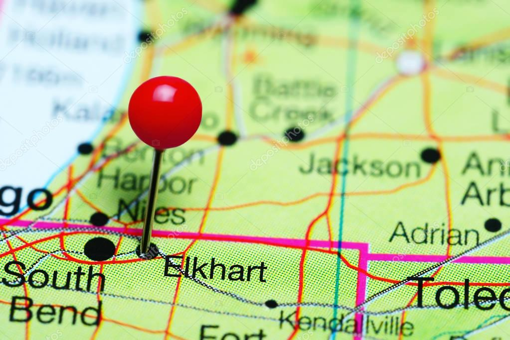 Elkhart pinned on a map of Indiana USA Stock Photo dkphotos
