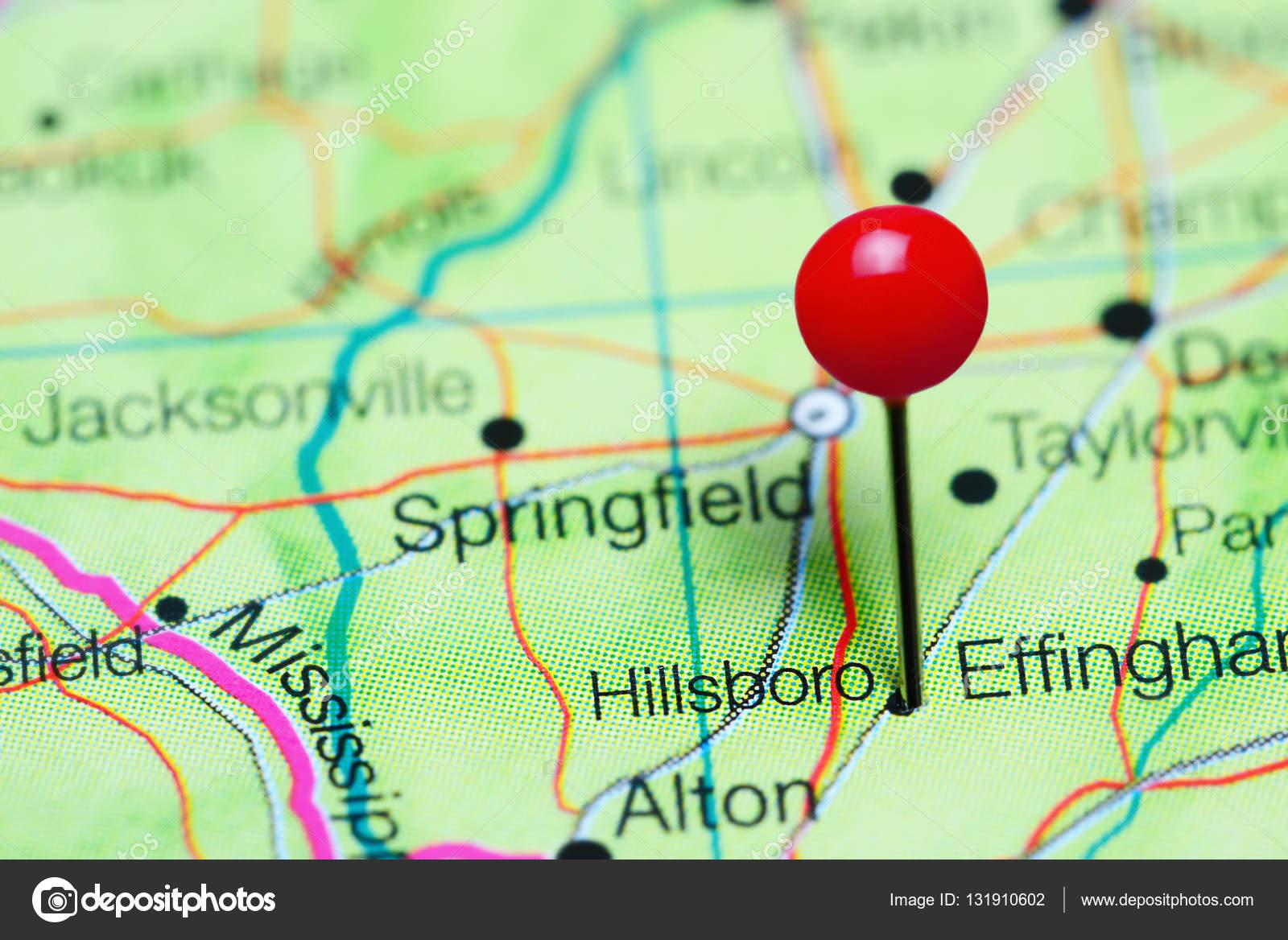 Hillsboro pinned on a map of Illinois, USA — Stock Photo © dk_photos ...