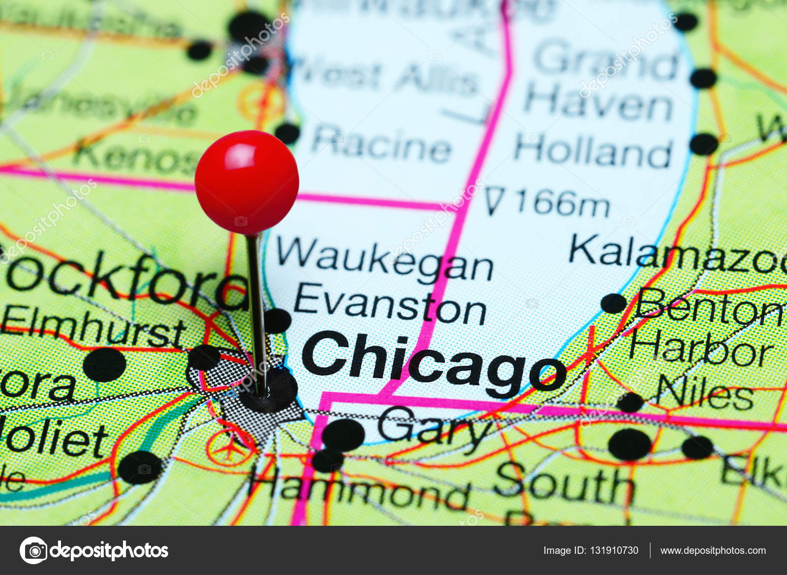 Chicago pinned on a map of Illinois USA Stock Photo dkphotos