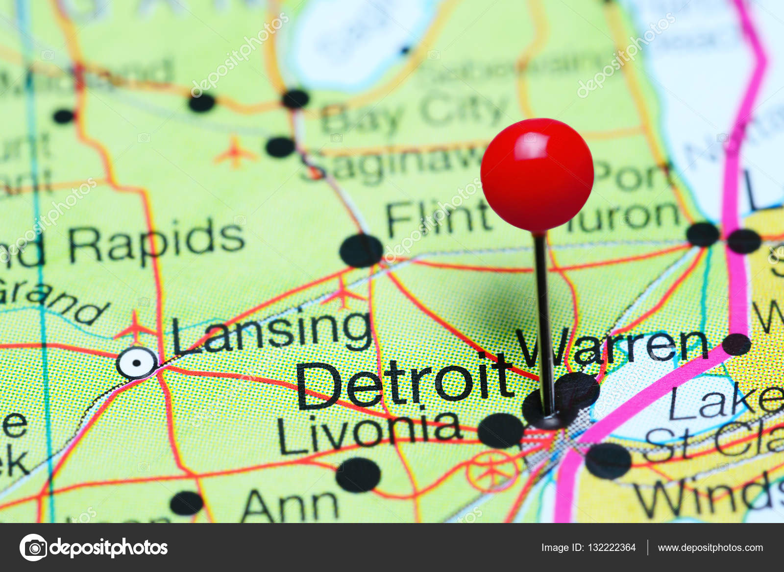 Detroit In Usa Map.Detroit Pinned On A Map Of Michigan Usa Stock Photo C Dk Photos