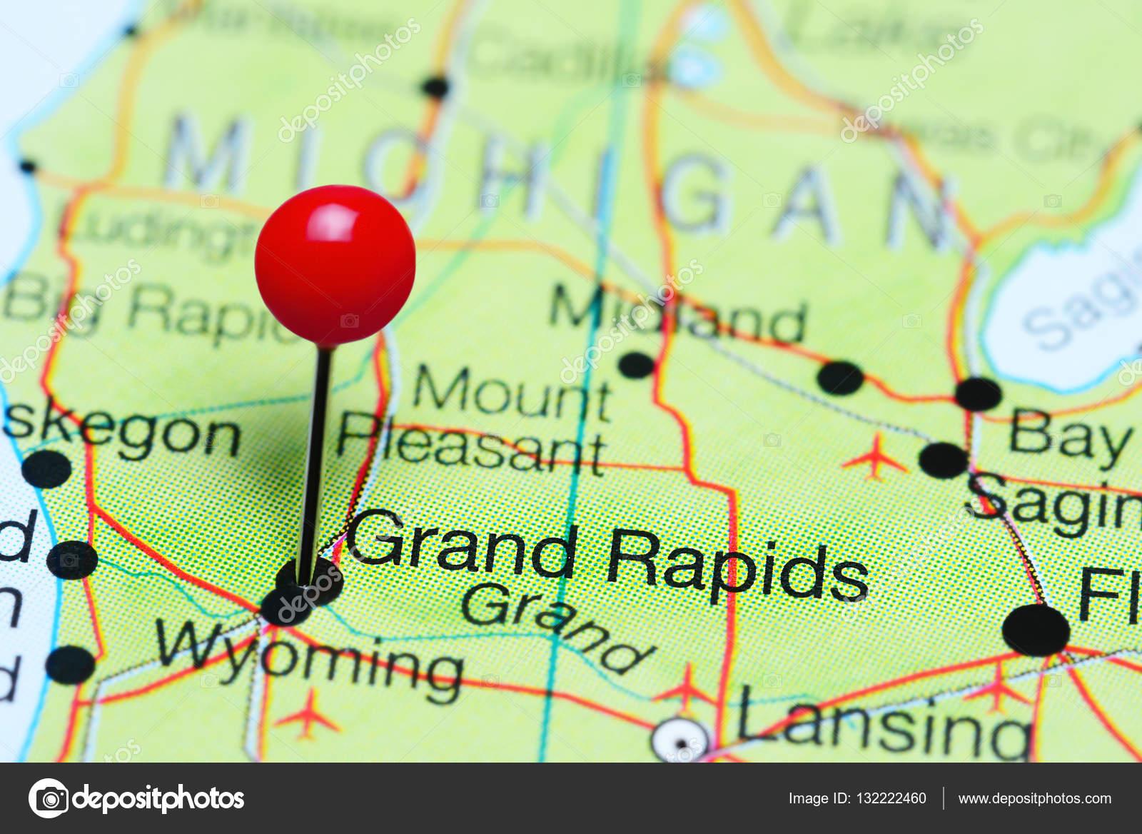 Grand Rapids En Un Mapa De Michigan Estados Unidos Foto De - Mapa de michigan