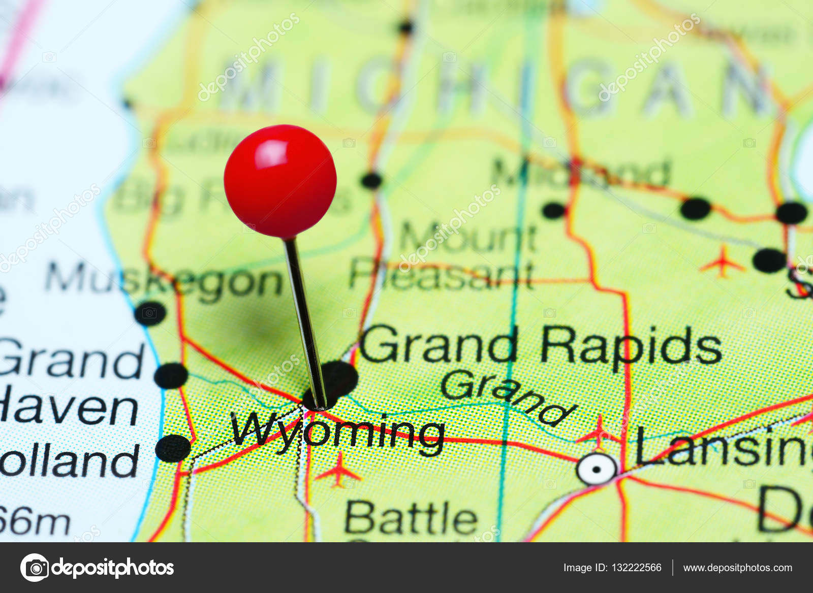 Wyoming pinned on a map of Michigan, USA — Stock Photo © dk_photos ...