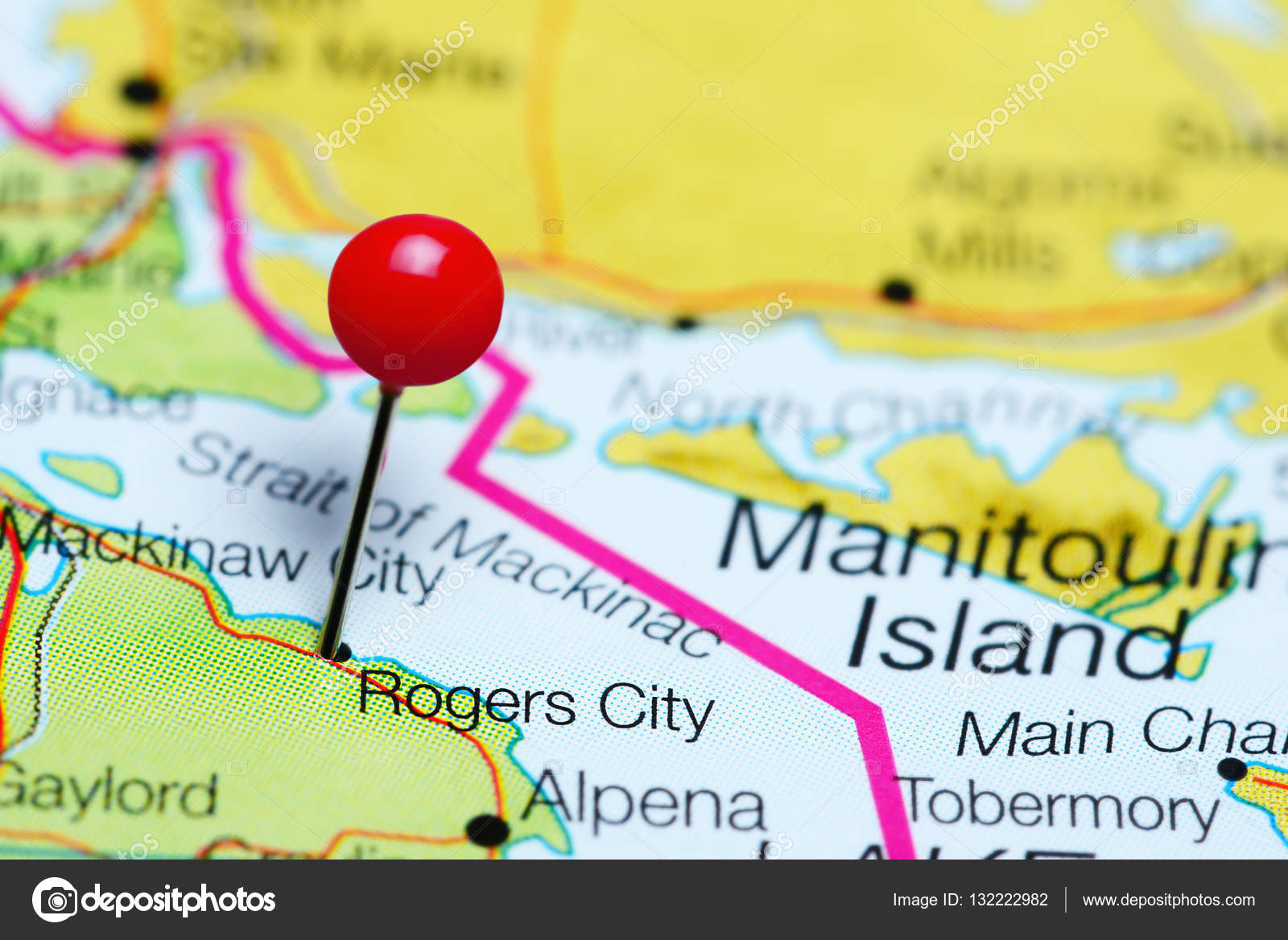 Rogers City Pinned On A Map Of Michigan Usa Stock Photo