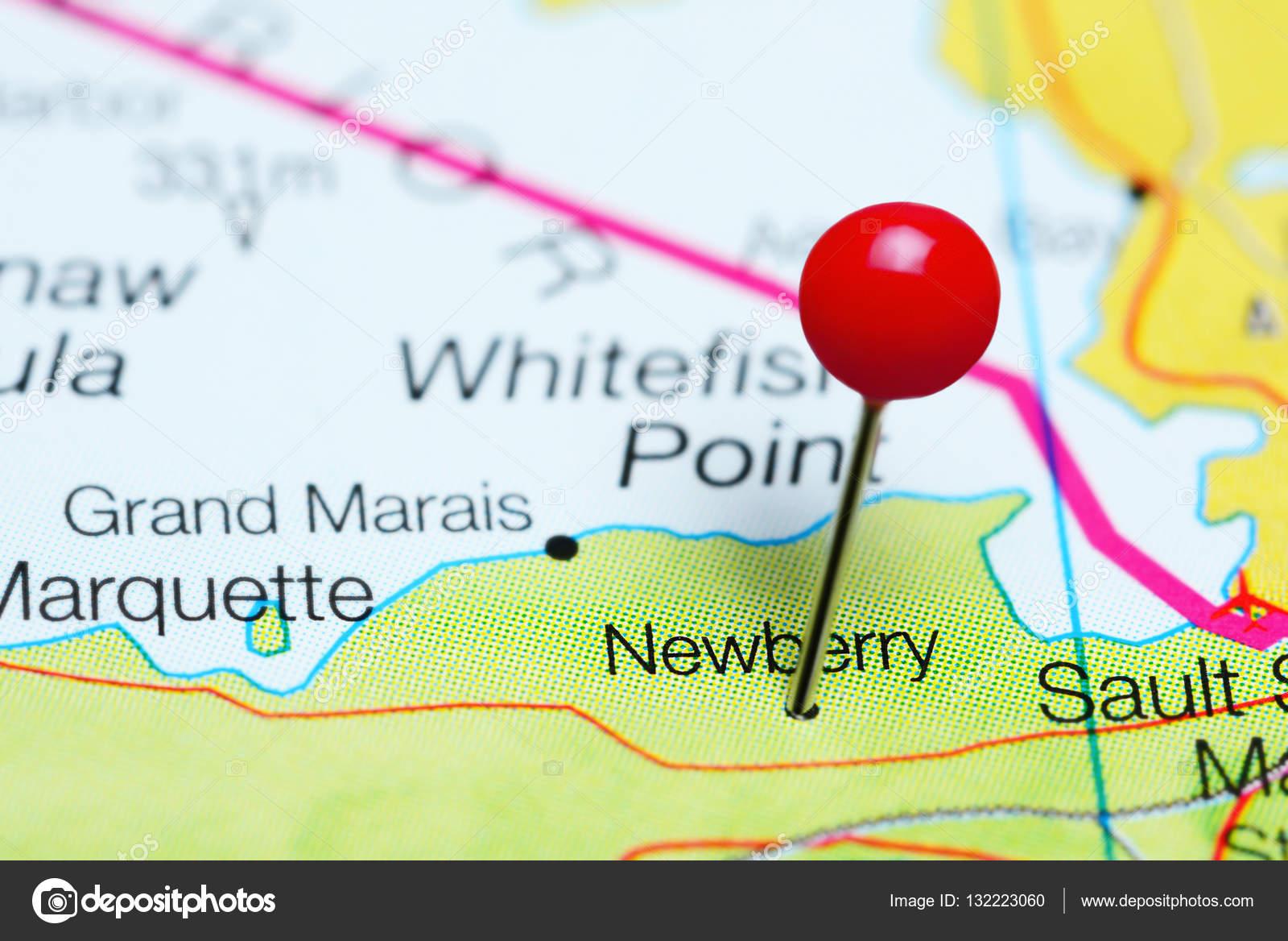Newbery En Un Mapa De Michigan Estados Unidos Foto De Stock - Mapa de michigan
