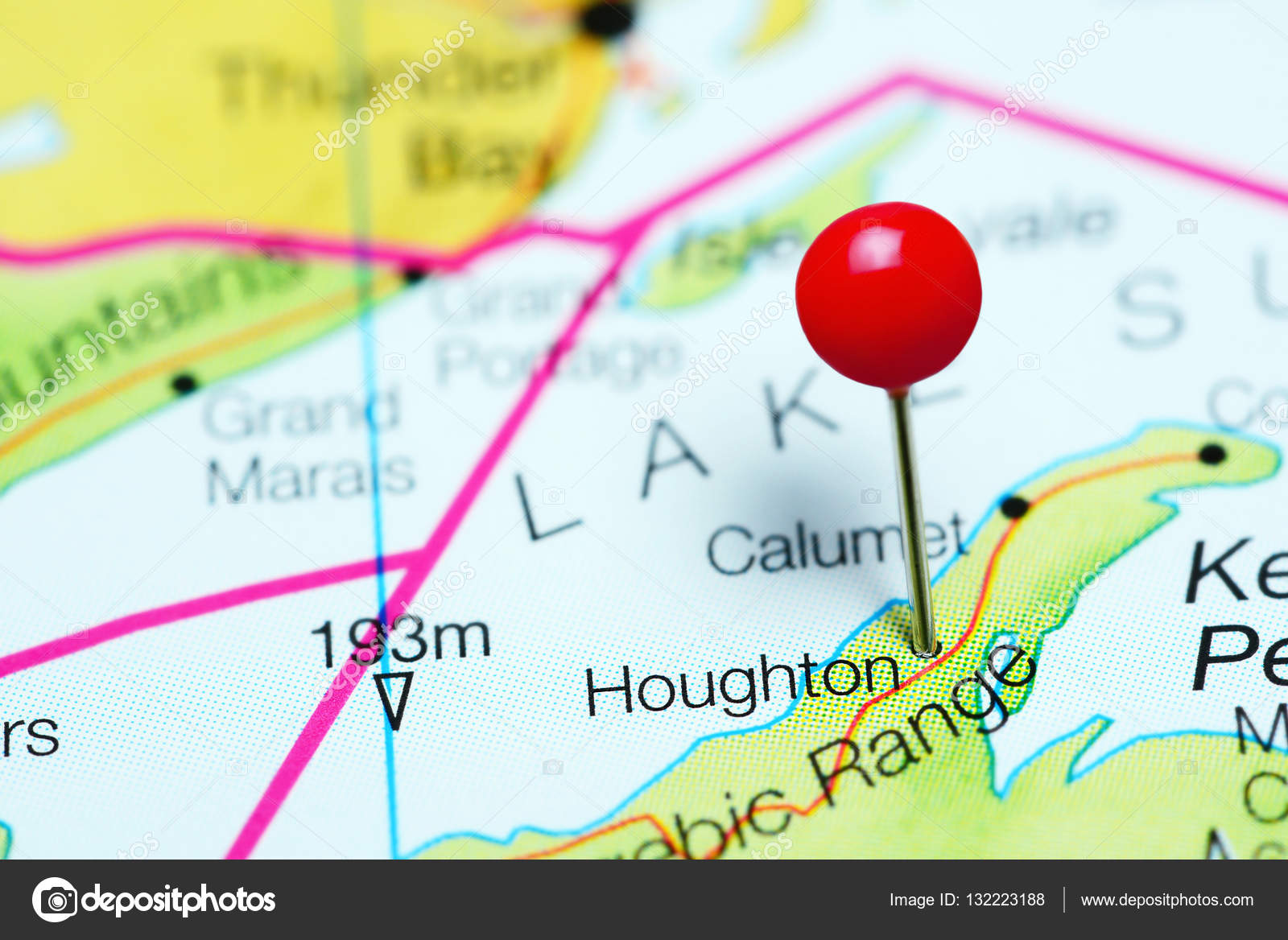Houghton pinned on a map of Michigan, USA — Stock Photo © dk_photos ...