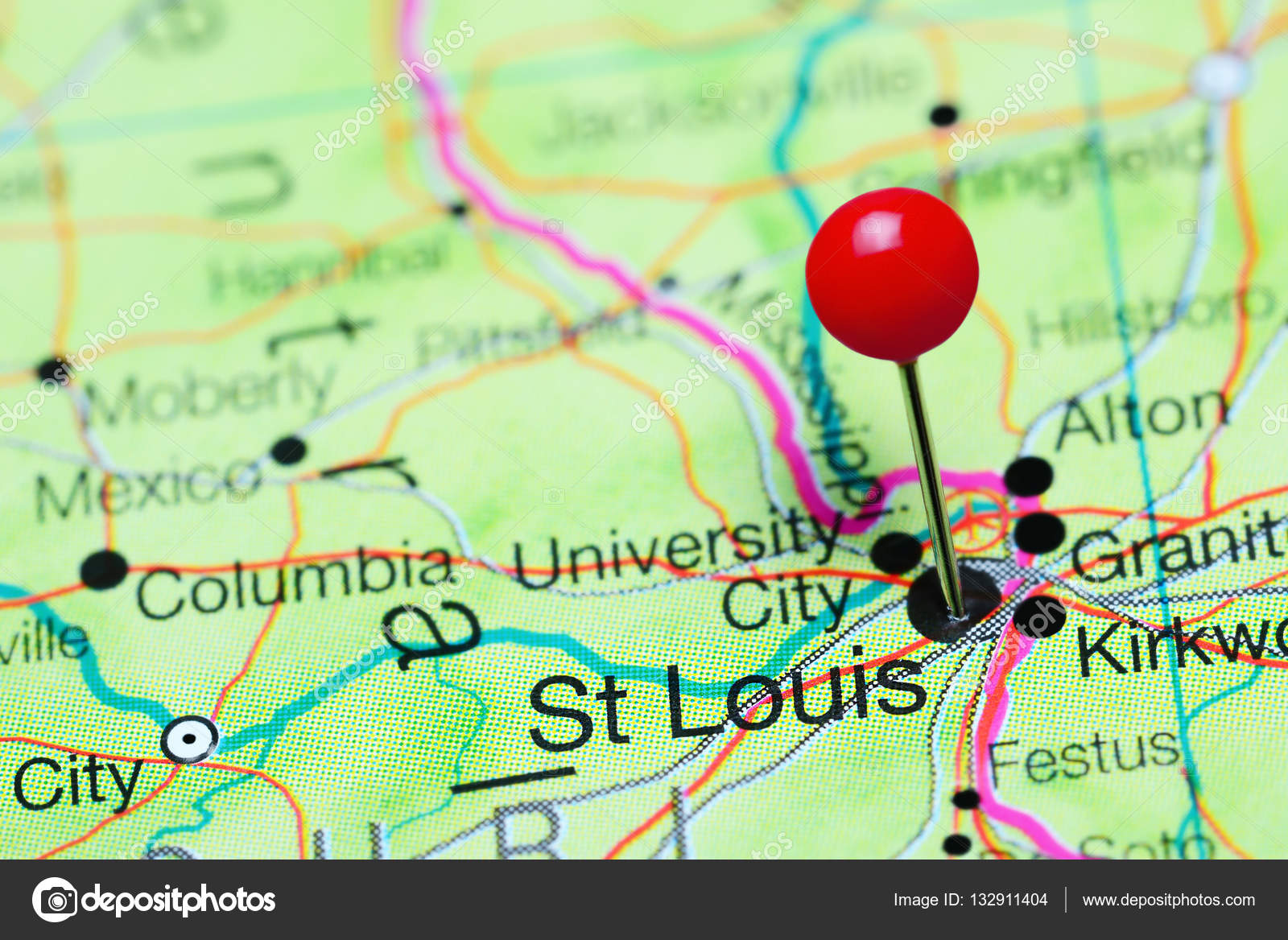 St Louis pinned on a map of Missouri, USA — Stock Photo © dk_photos ...