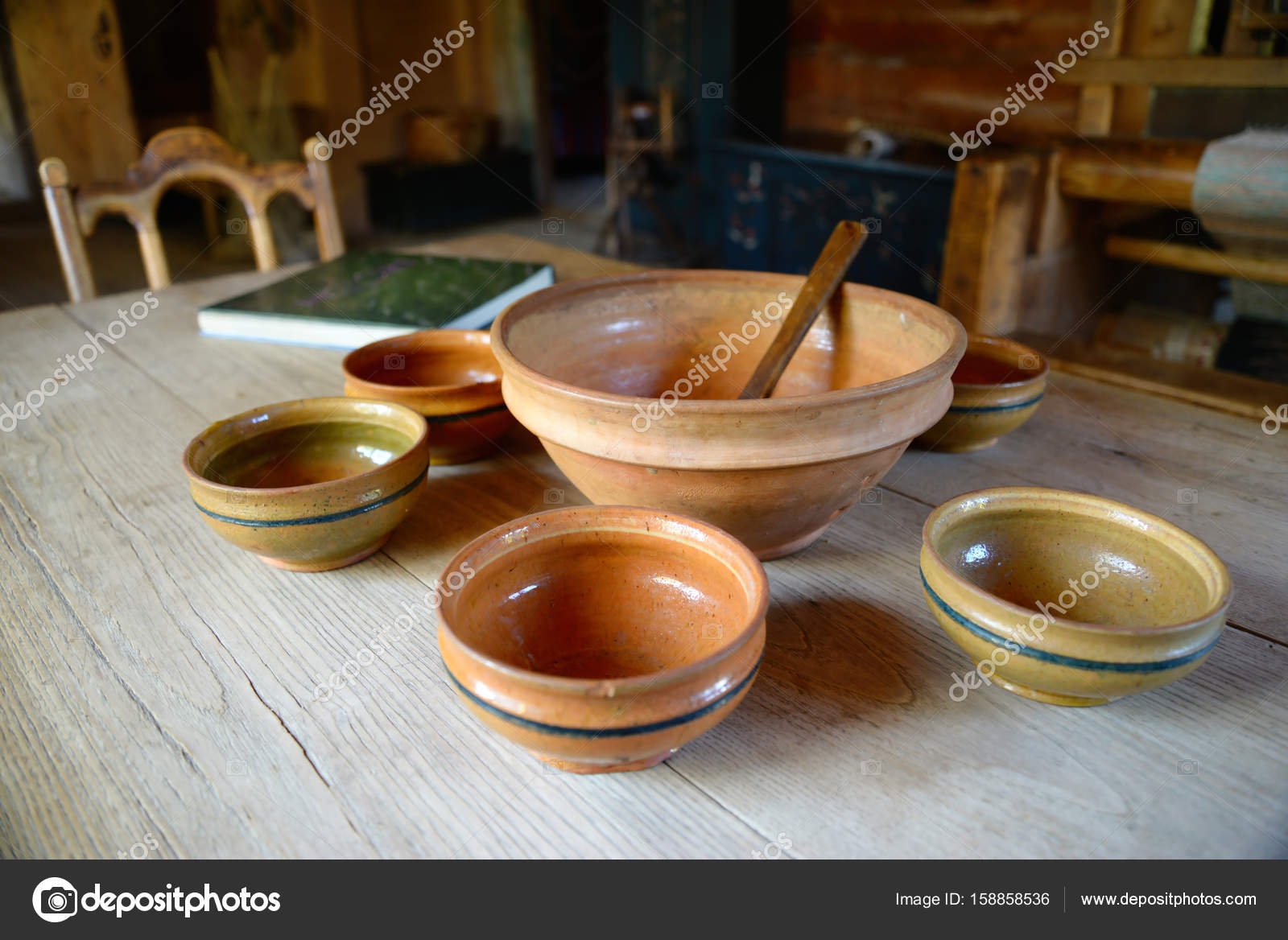 Wooden and clay dinnerware on and old wooden table u2014 Stock Photo & wooden and clay dinnerware on and old wooden table u2014 Stock Photo ...