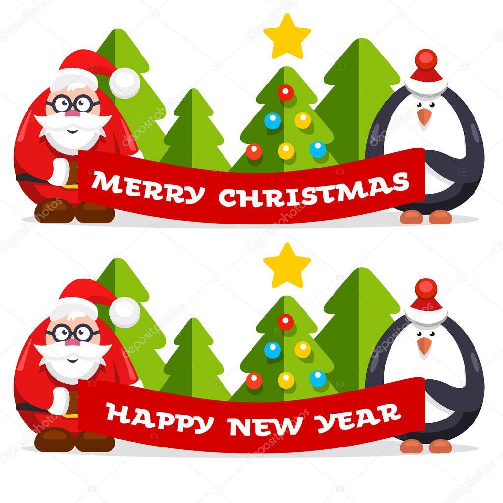 Weihnachten-flache Vektor-banner — Stockvektor © golliver #130384550