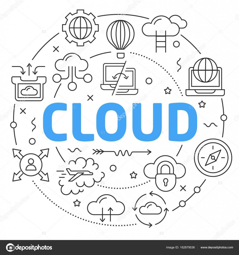 Linie flacher Kreis Abbildung Wolke — Stockvektor © golliver #162879536