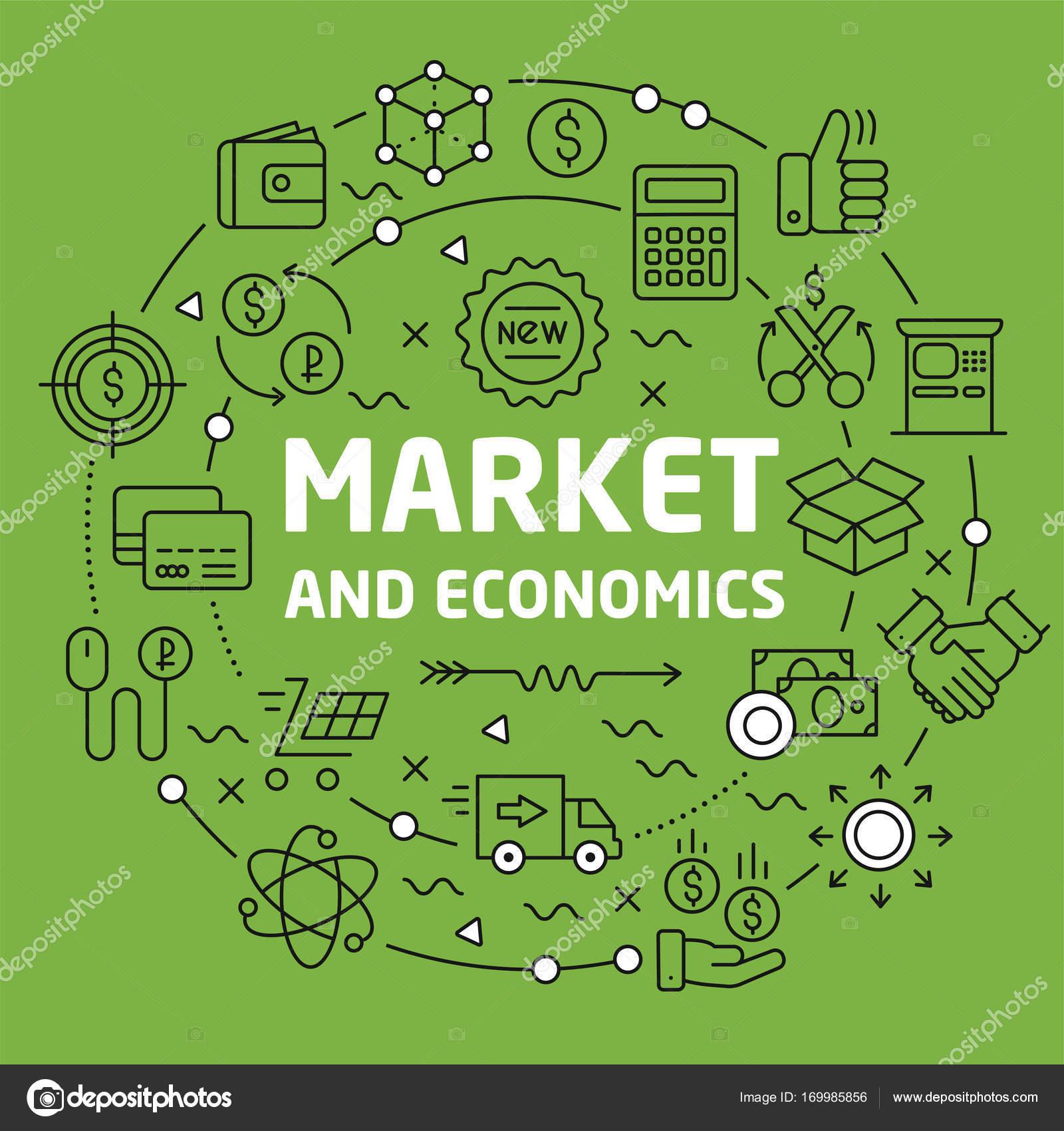 ライン背景イラスト市場と経済 — ストックベクター © golliver #169985856