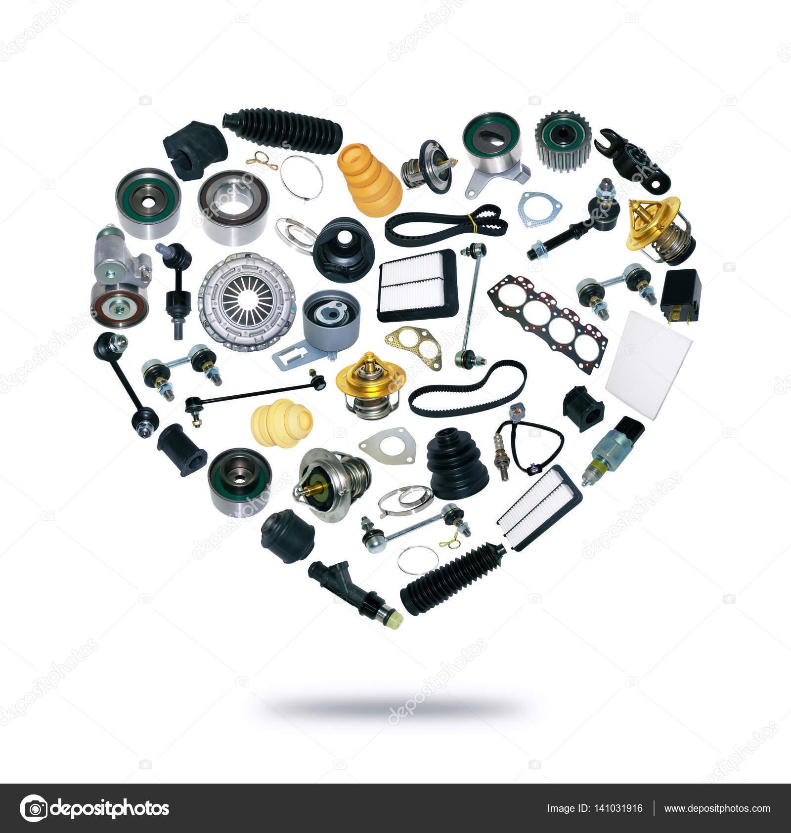 Herz-Ersatzteile-Auto auf dem weißen Hintergrund — Stockfoto © Dezay ...