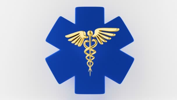 Caduceus orvosi szimbólum izolált fehér alapon. Caduceus jel kígyókkal egy orvosi csillagon.