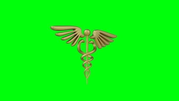 Caduceus medizinisches Symbol isoliert auf grünem Hintergrund. Caduceus Zeichen mit Schlangen. 3D-Darstellung