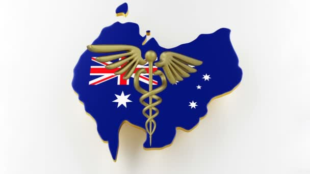 Caduceus sign with snakes on a medical star. Map of Australia land border with flag. 3d rendering