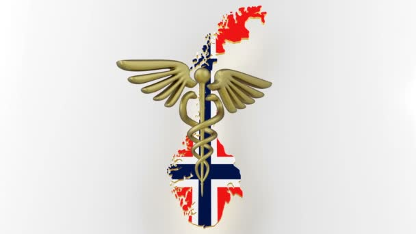 Caduceus sign with snakes on a medical star. Map of Norway land border with flag. 3d rendering