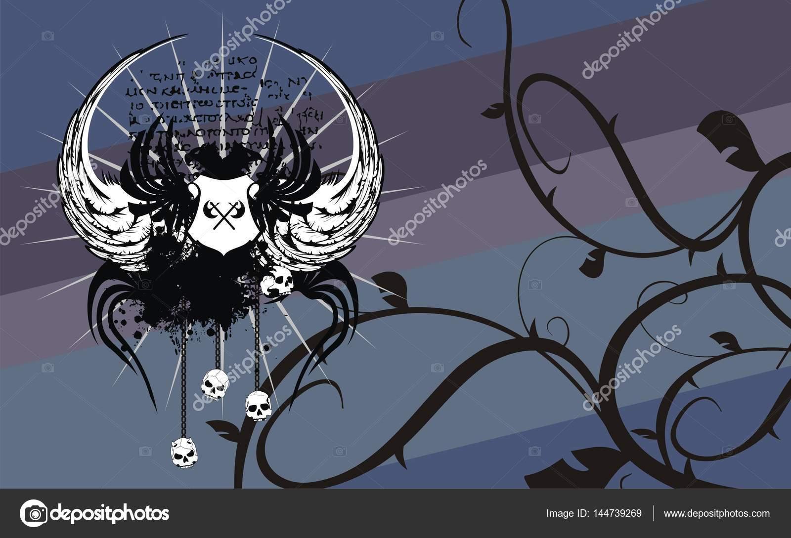 Fondo de capa de los brazos Heraldic águila tatuajes — Vector de ...