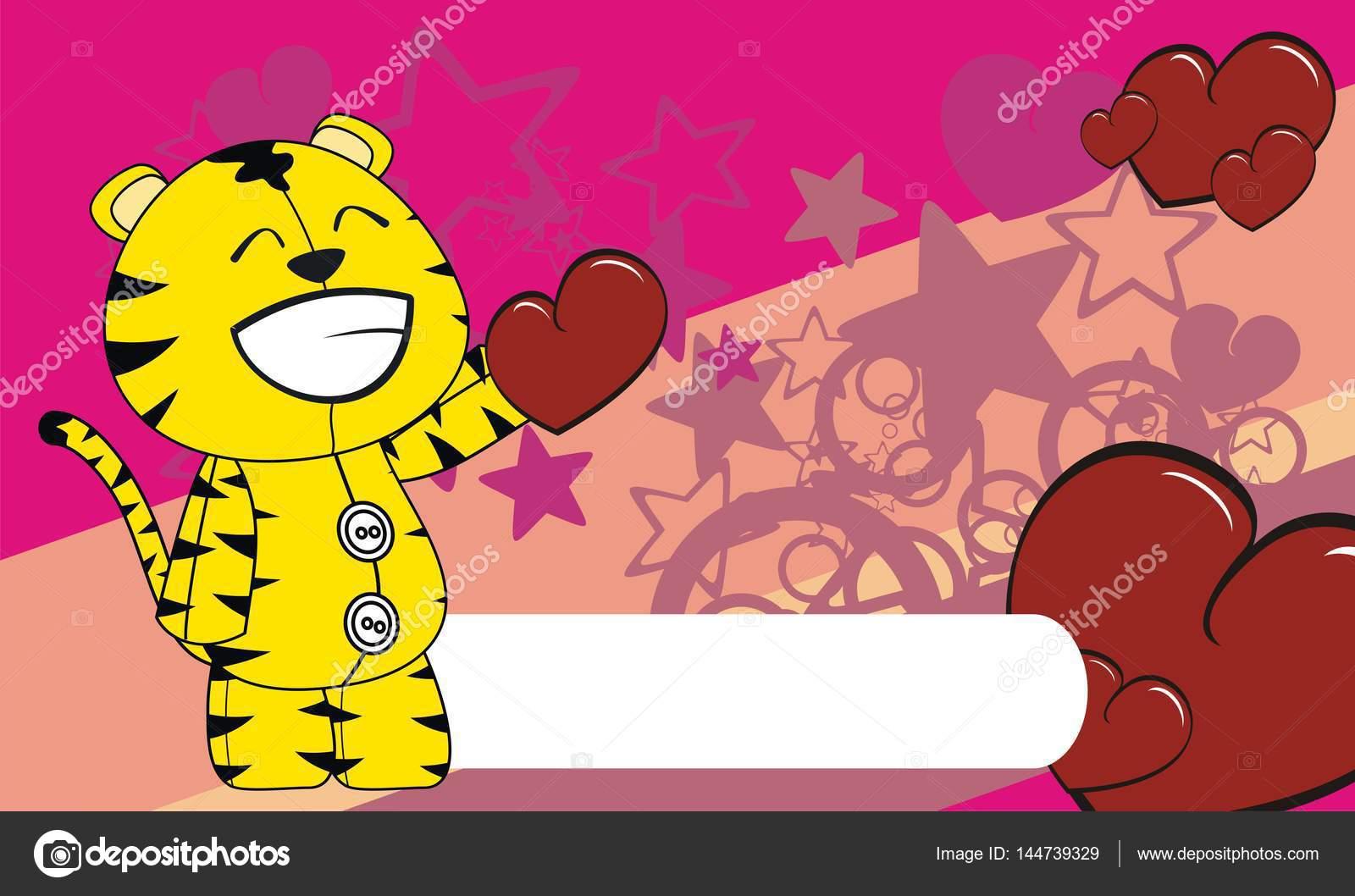Bella tigre cartone animato san valentino sfondo u vettoriali