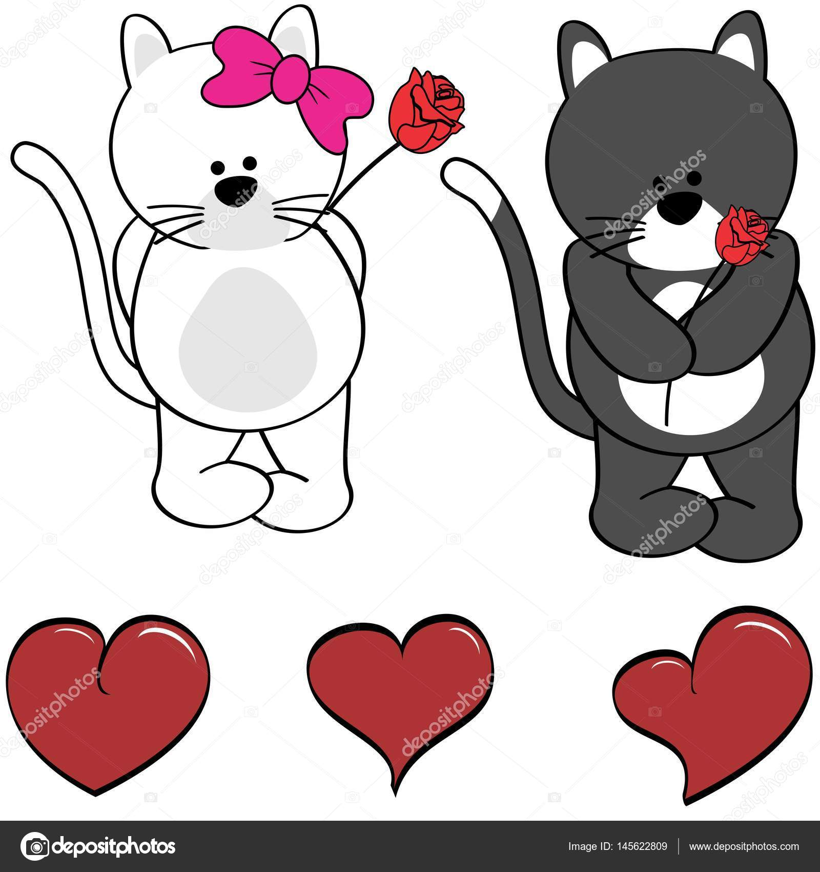 Dibujos Corazón Bonitos Lindo Gato De Dibujos Animados Amor