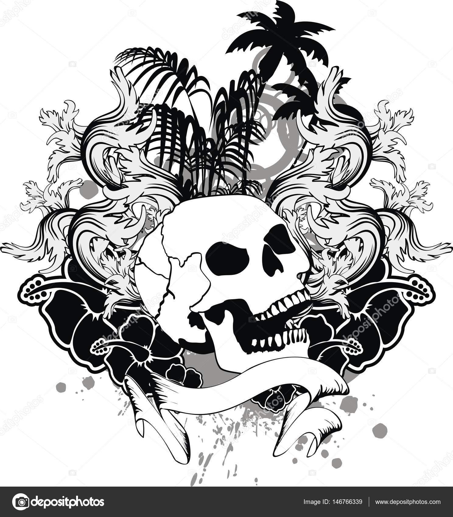 Tropical Hibiscus Hawajski Kwiat Czarny Czaszka Tatuaż
