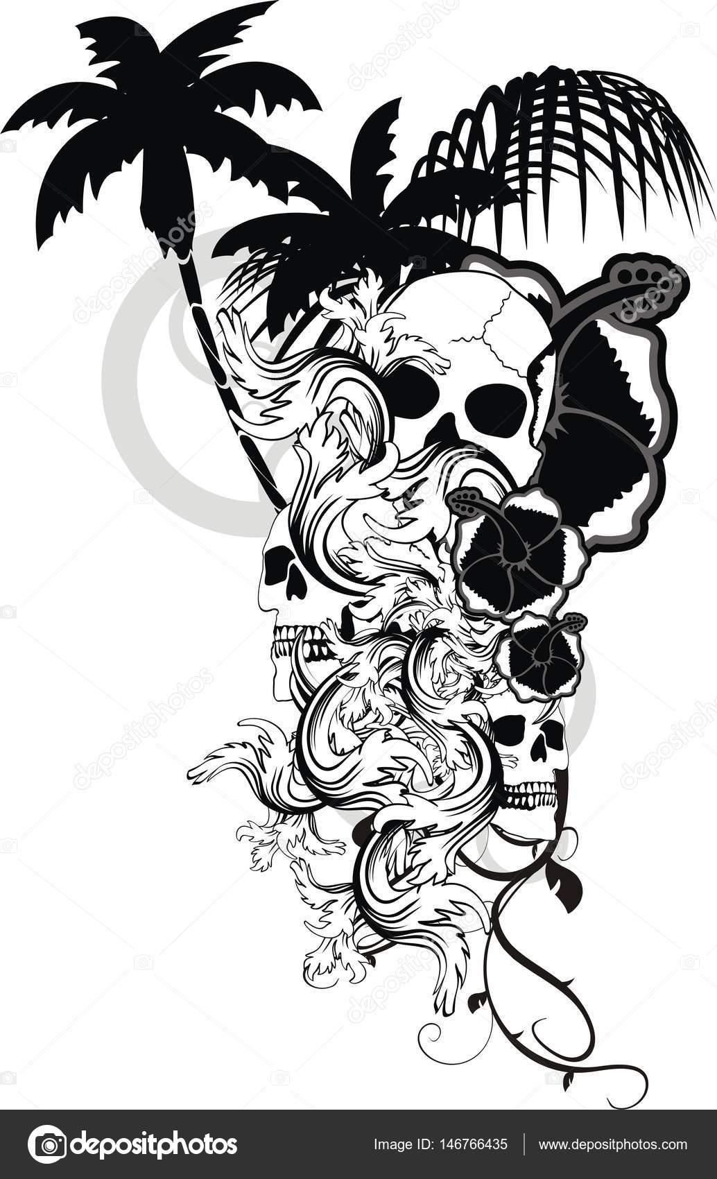 Tatuajes De Flor Hawaiana Tropical Cráneo Ornamento Vector De