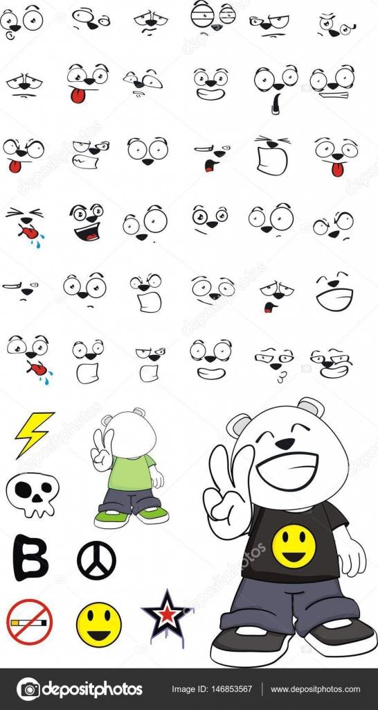 Jonge Teddy Ijsbeer Expressies Tekenfilm Verzameling Stockvector