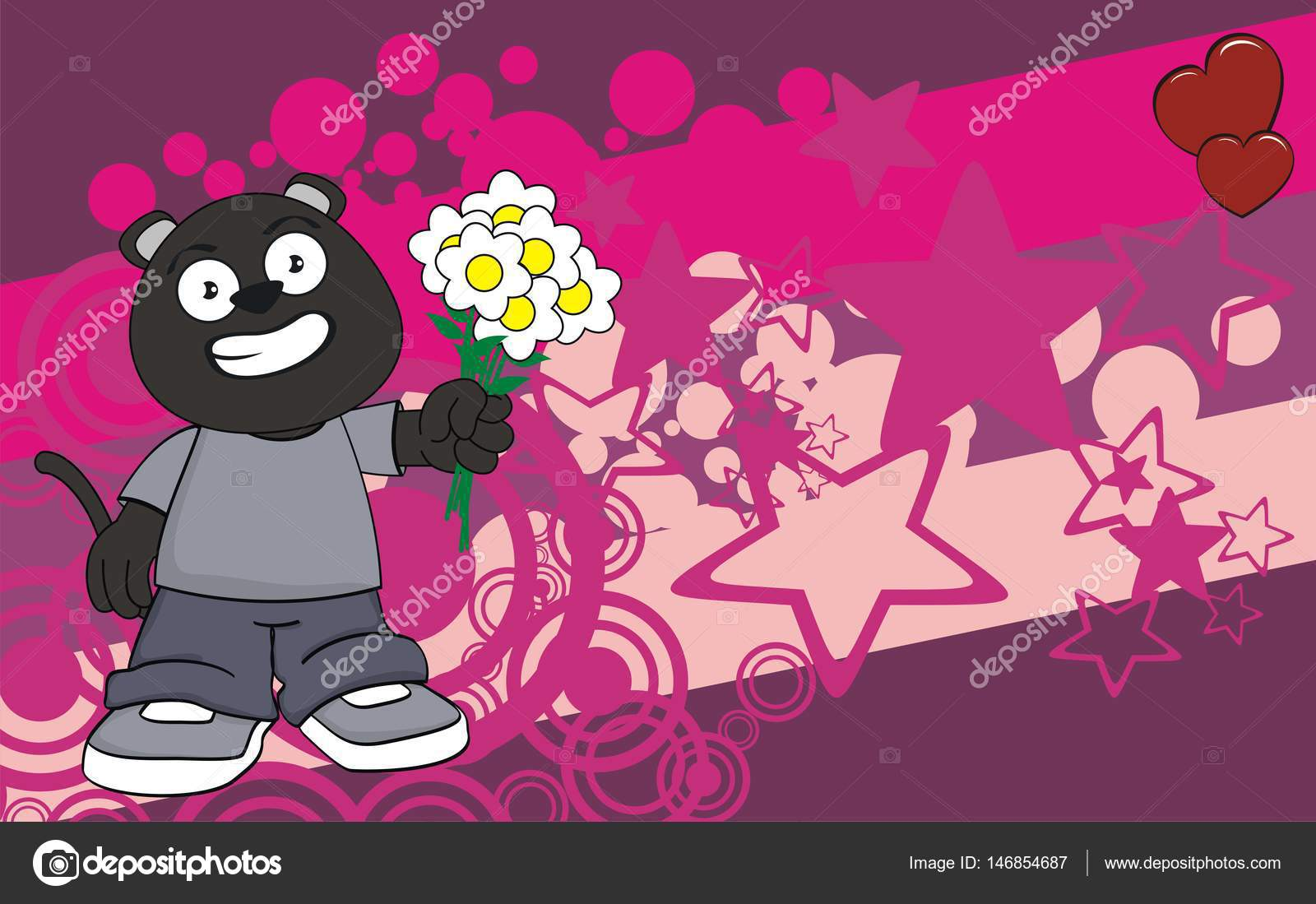 Flowers Little Panther Kid Cartoon Expression Background Stock