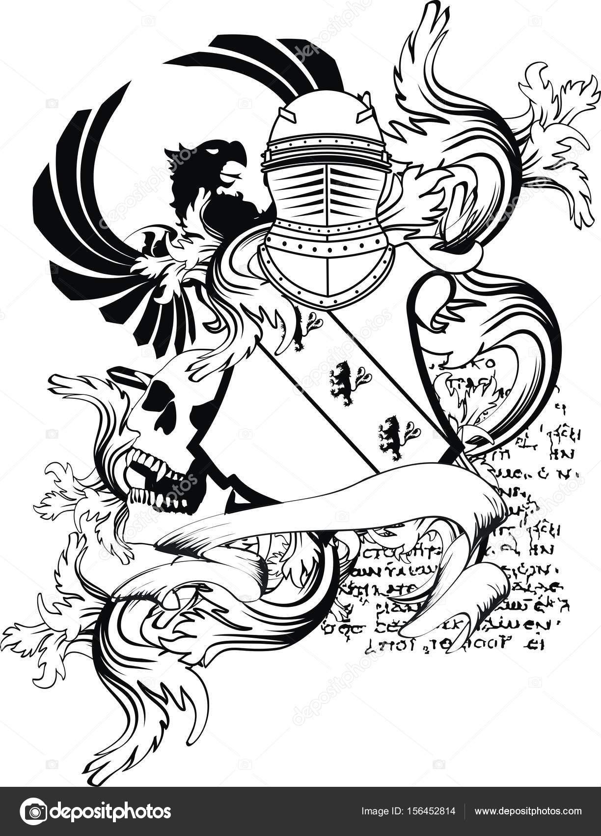 León de águila de heráldica medieval casco escudo capa de brazos del ...