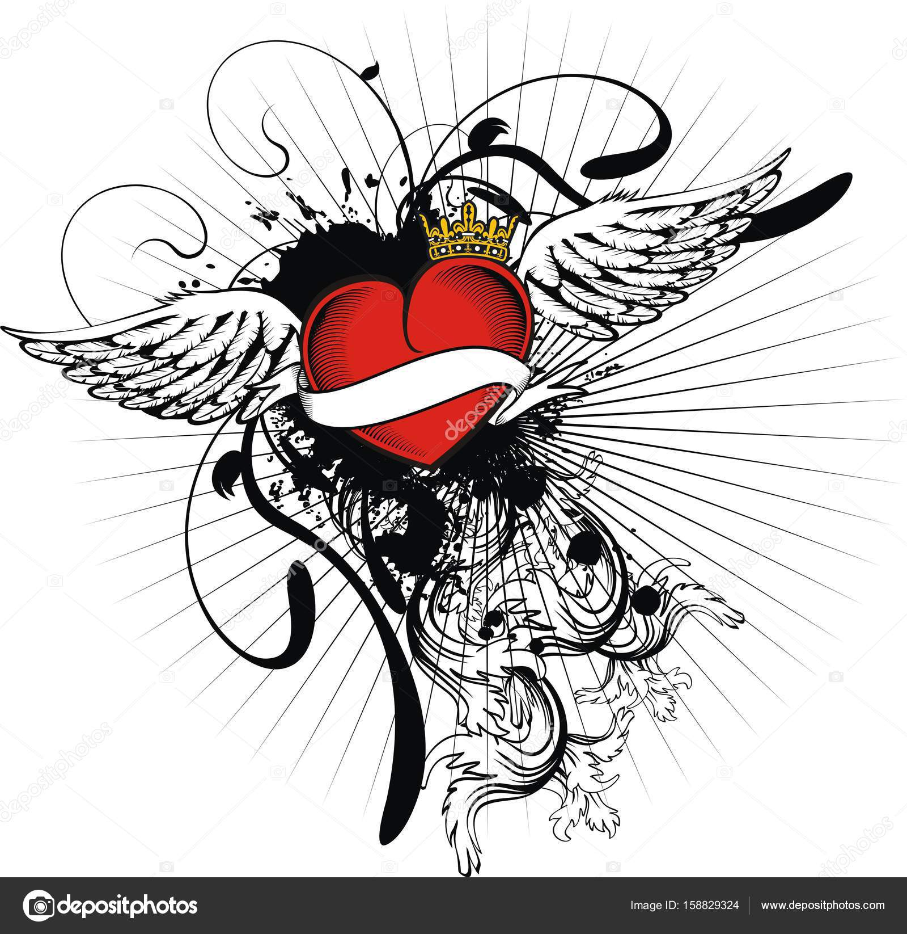 Plantilla De Tatuajes De Corazones Faciles Tatuaje Heráldico De
