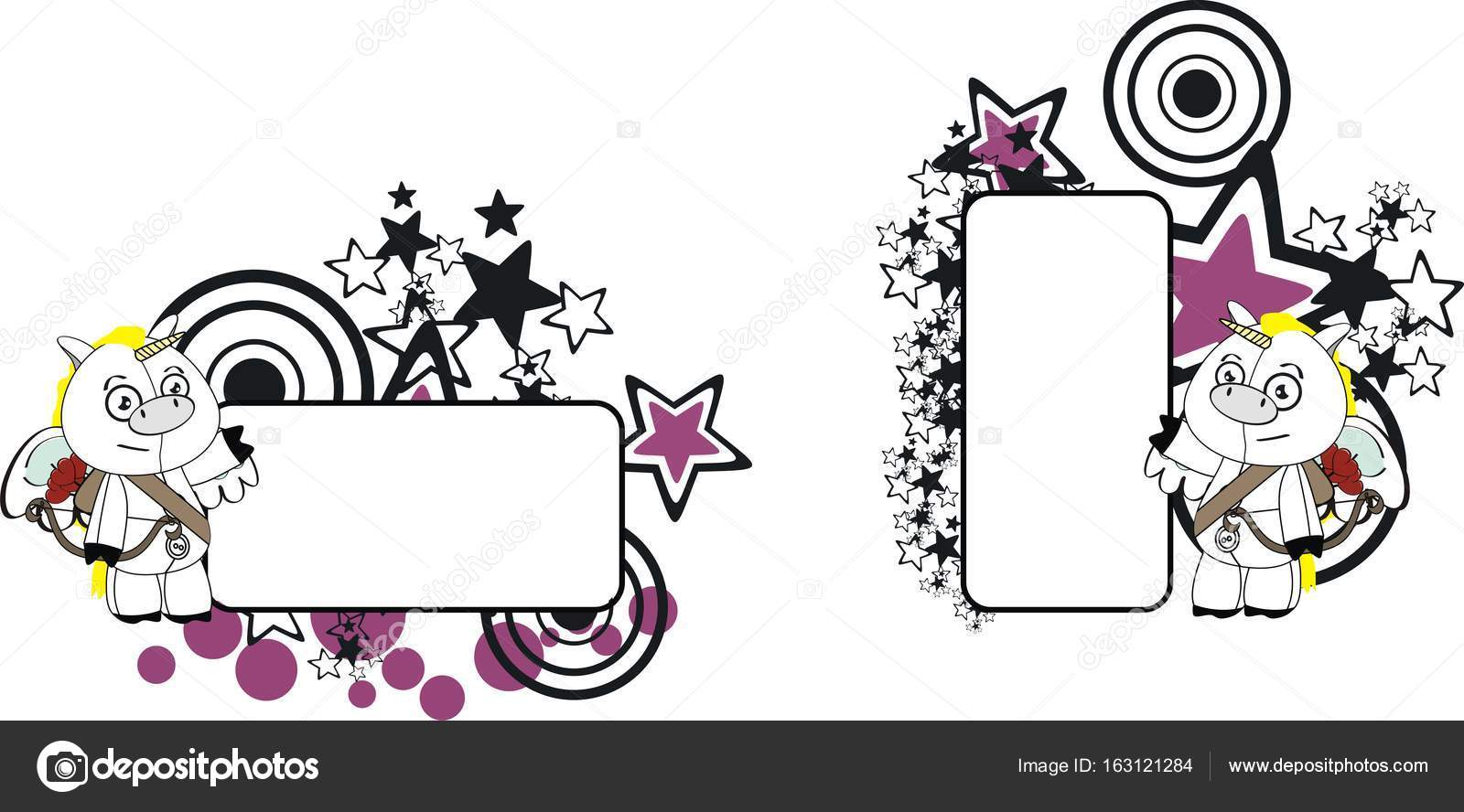 Adorable Petite Licorne Cherubin Ange Dessin Anime Fond Image