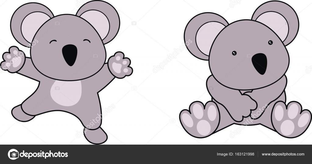 Jeu De Dessin Anime Doux Bebe Koala Image Vectorielle Hayashix23