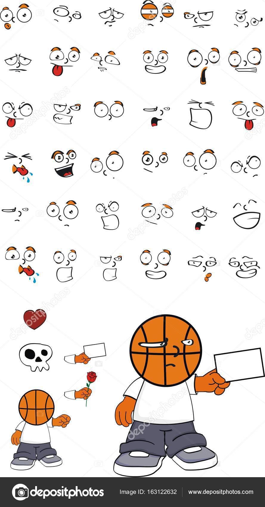 Cartoon Basketball Head Cute Funny Basketball Head Kid Cartoon Expressions Set6 Stock Vector C Hayashix23 163122632
