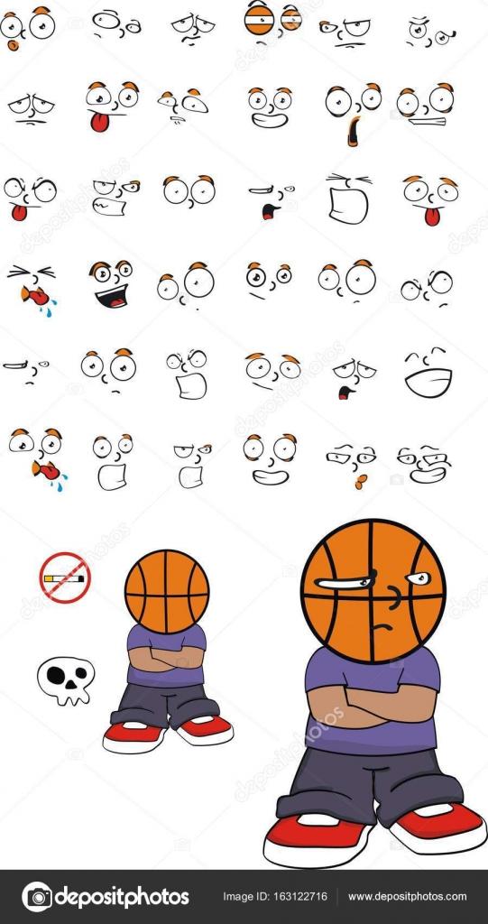 Cute Funny Basketball Head Kid Cartoon Expressions Set0 Stock Vector C Hayashix23 163122716