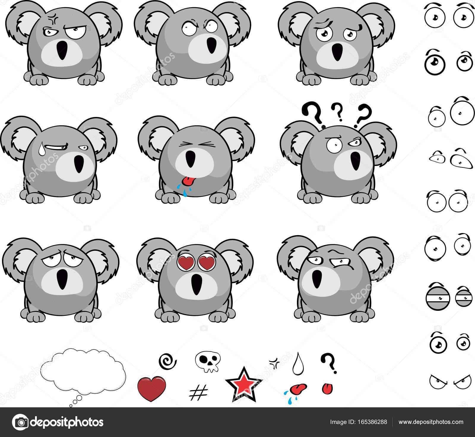 Ensemble D Expressions Dessin Anime Koala Mignon Bebe Boule Image