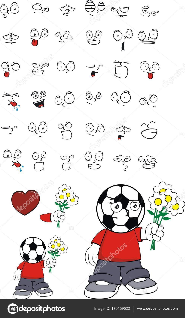 Liebe Soccer Futbol Kopf Kind Ausdrucke Cartoon Serie