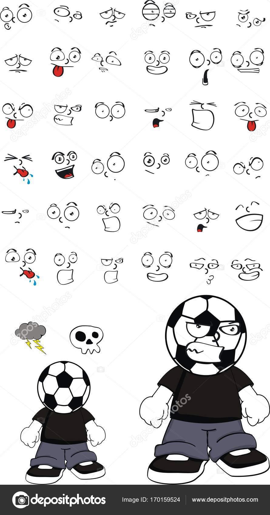 Kızgın Futbol Futbol Kafa çocuk Ifadeler Kümesi Karikatür Stok