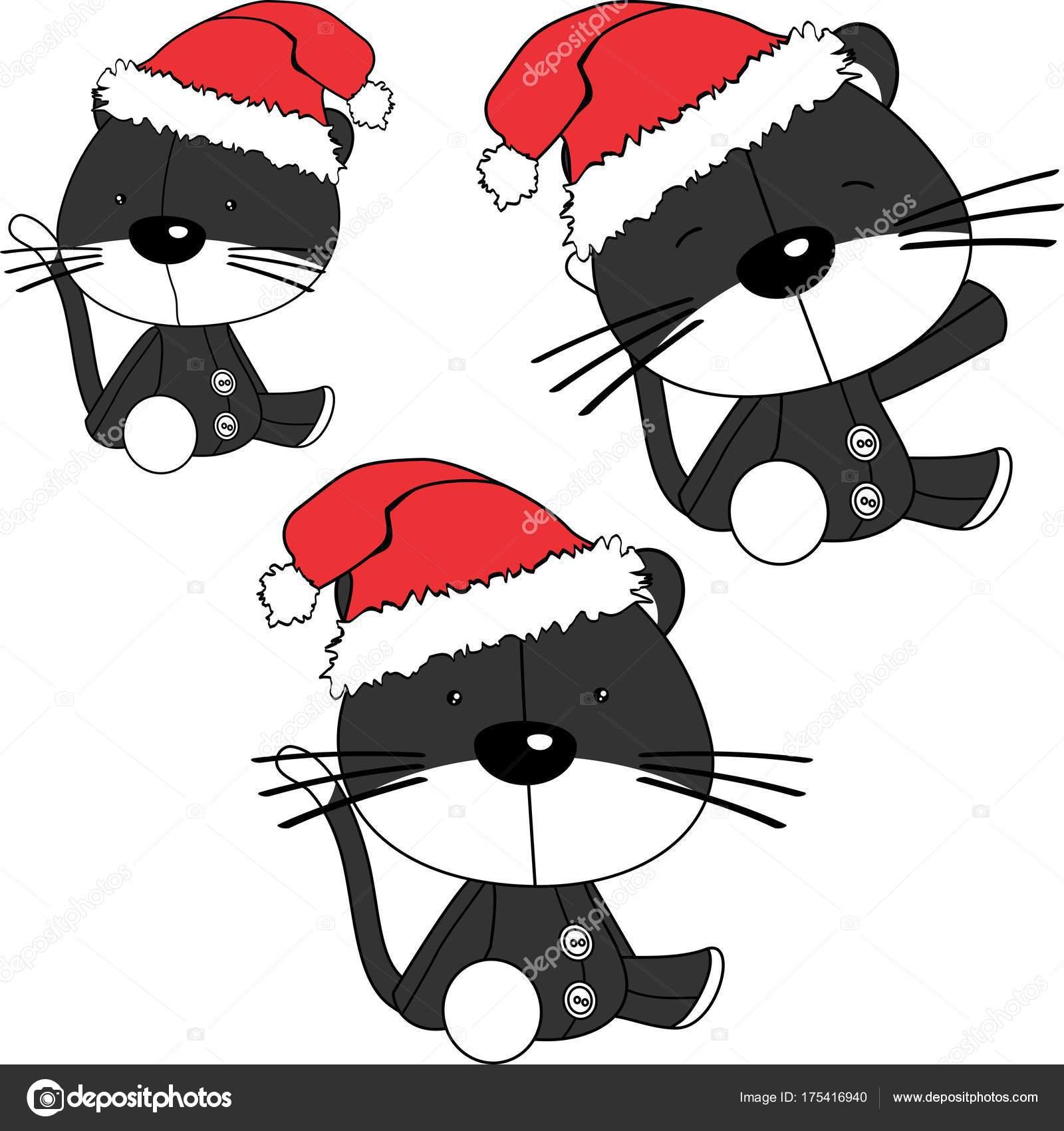 e461dfea387ab Chat de Noël s asseoir bébé cartoon ensemble chapeau père Noël en format  vectoriel — Vecteur par ...