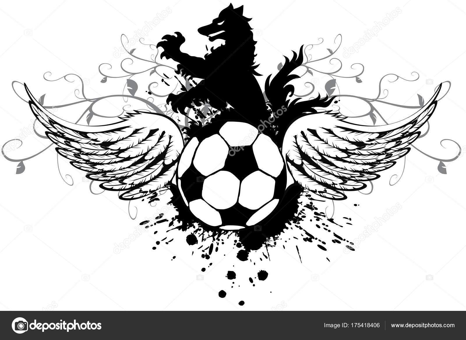 Fotos Logos De Futbol Para Editar Heráldico Negro Lobo Tatuaje