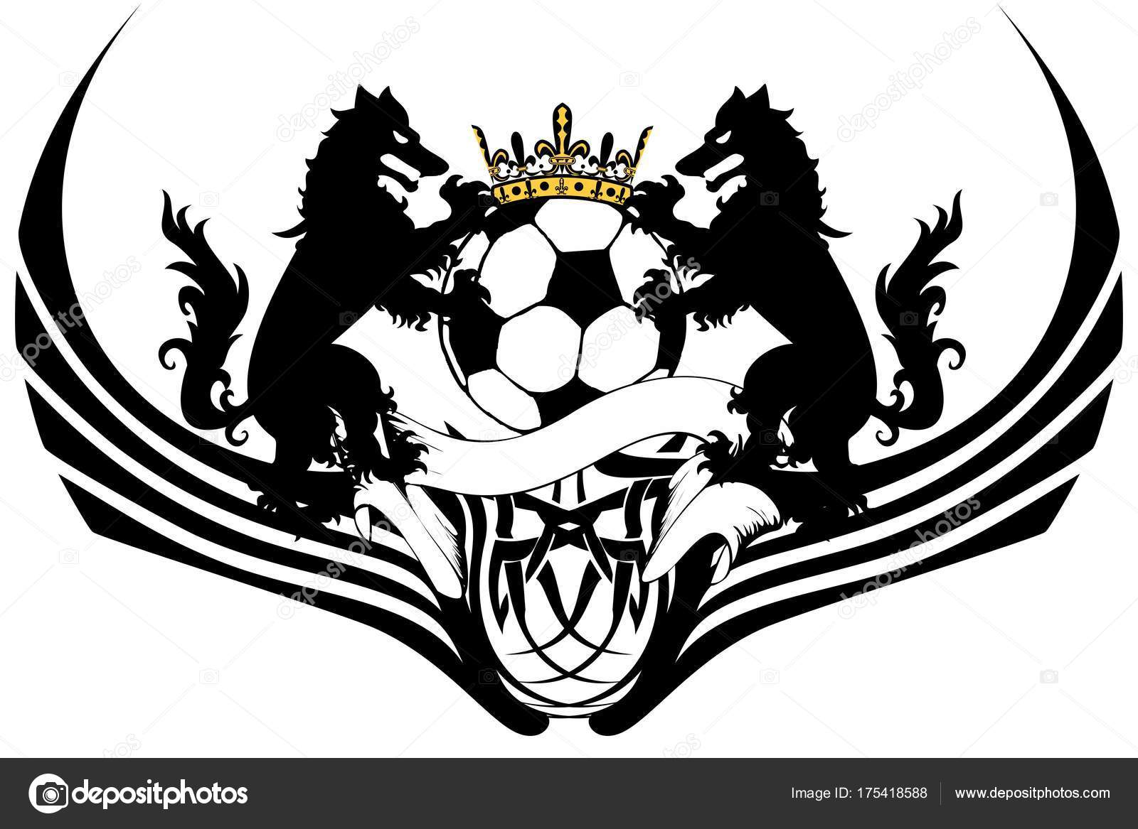 Heraldic Black Wolf Tattoo Soccer Futbol Coat Arms Vector Format