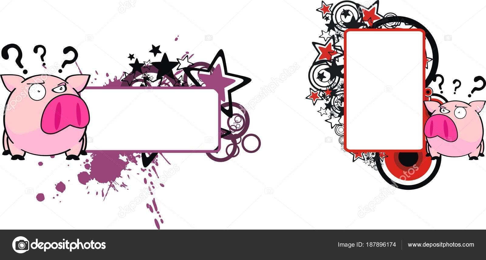 Mignon Petit Cochon Dessin Anime Boule Style Fond Mis Format Image