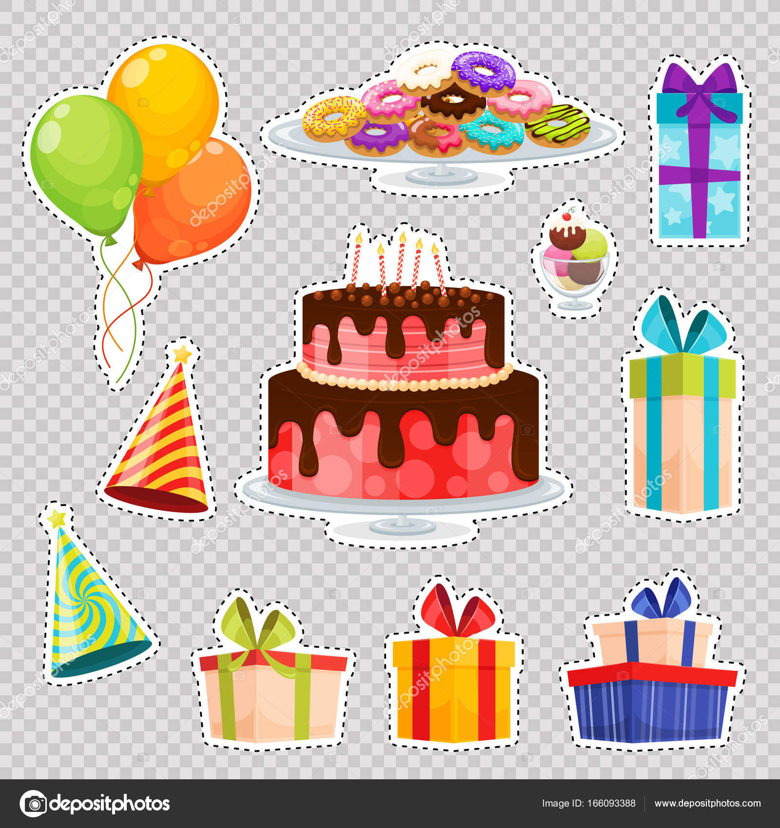 Patch Badges Birthday Cake Balloons Gift Box Hats Ice Cream Stock