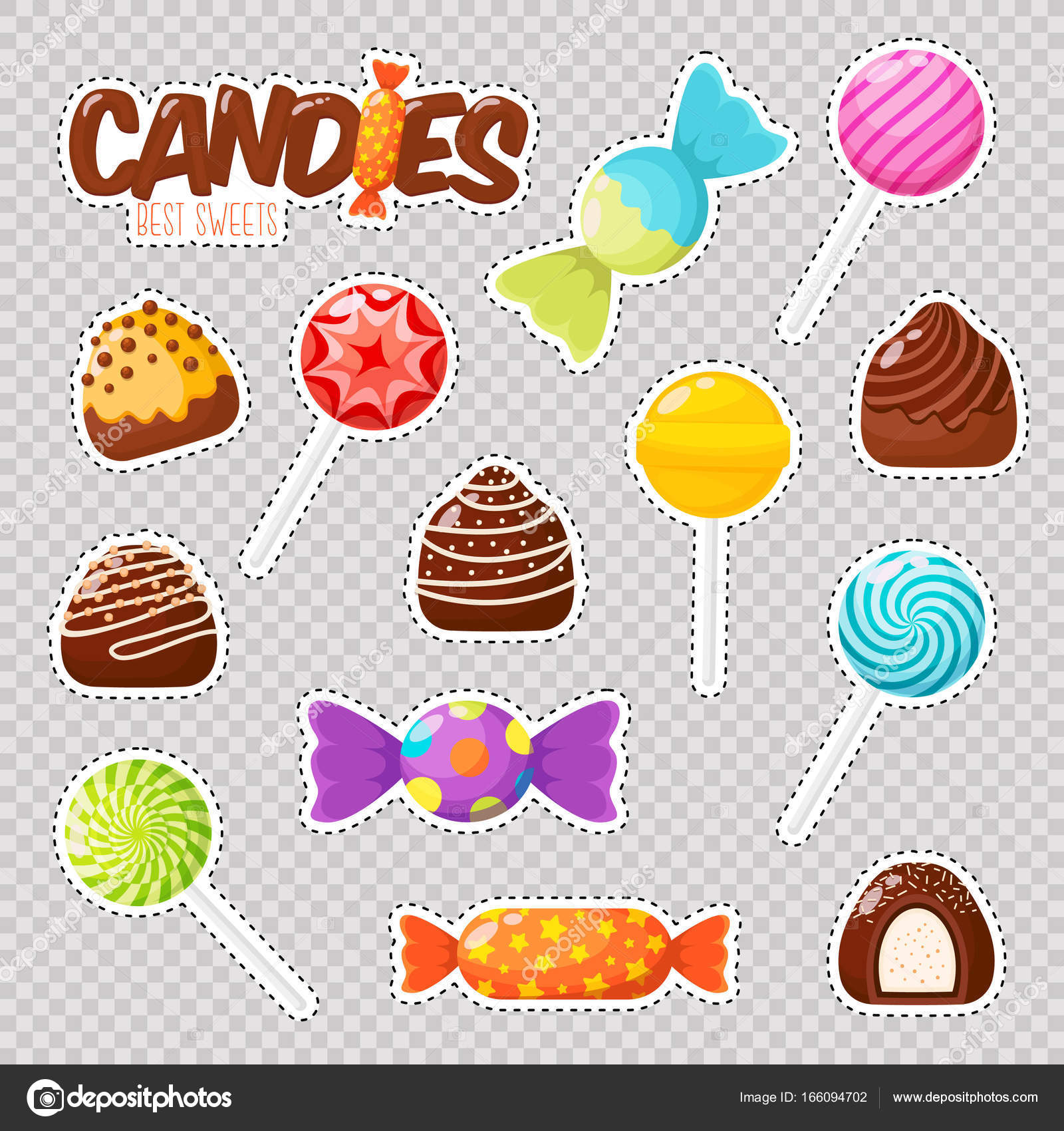 Patch badges different types assorted chocolates lollipops set stickers patches stock vector