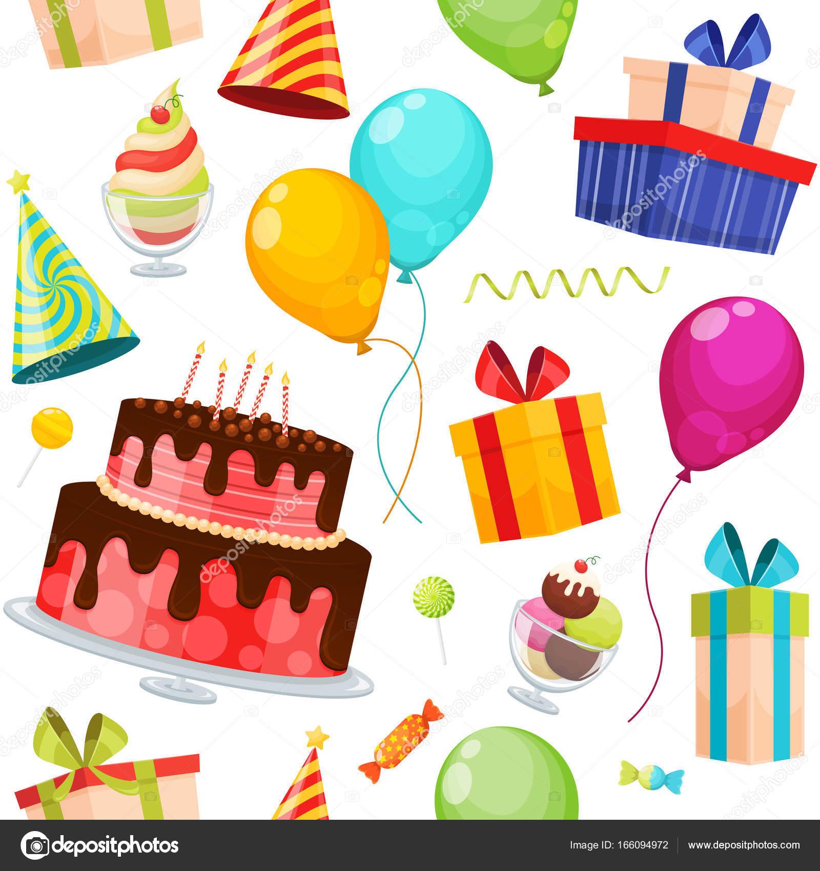 Seamless Pattern Birthday Party Decorative Icons Set Birthday Cake