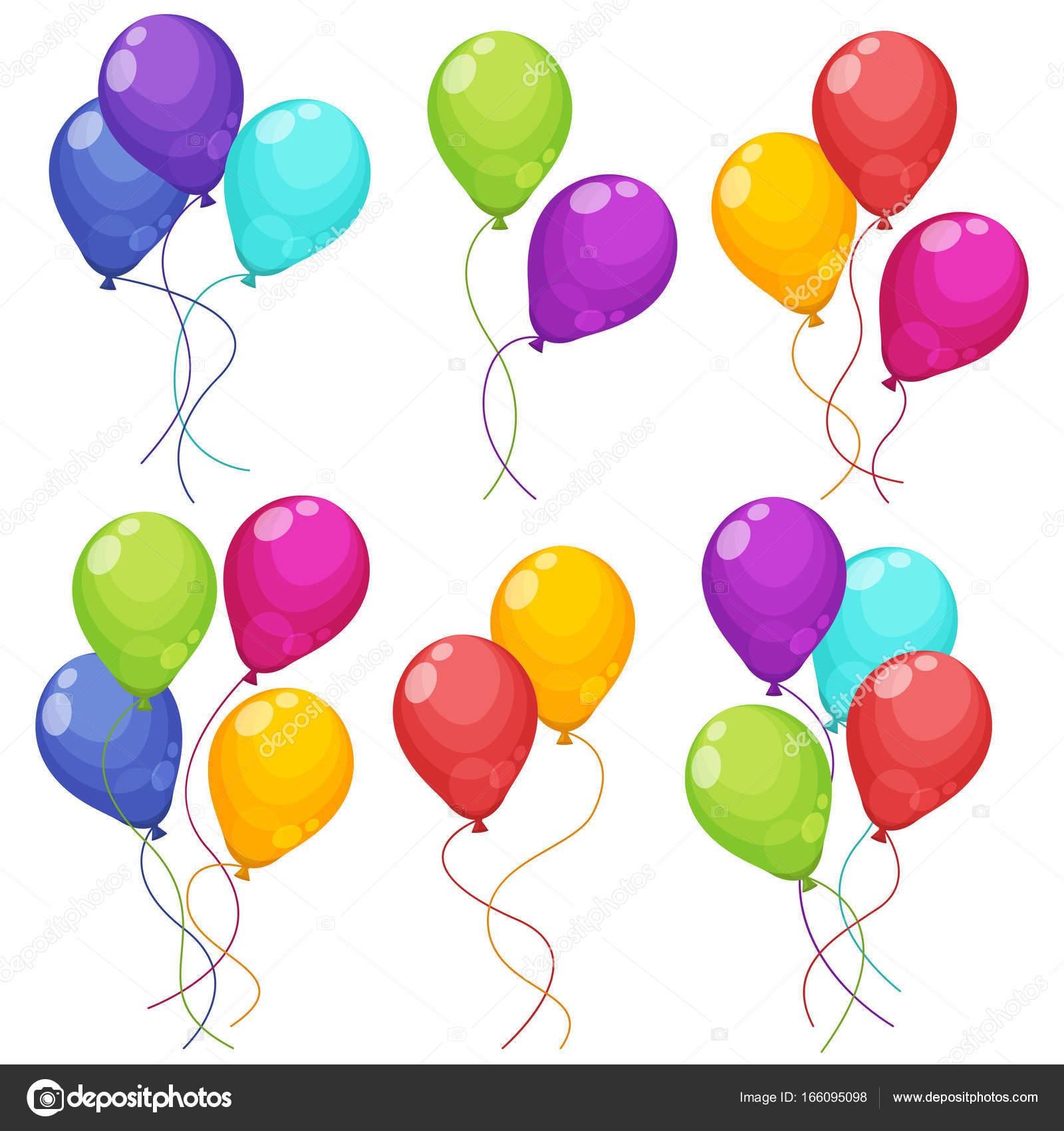 Conjunto Coloridos Ramos Globos Cumpleaños Volando Para Fiesta Celebración  Globos — Archivo Imágenes Vectoriales 0ea172da51f