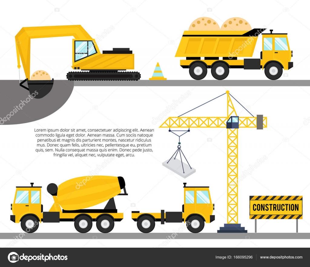 Horizontal Construction Background Equipment Icons Crane Truck Concrete Stock Vector