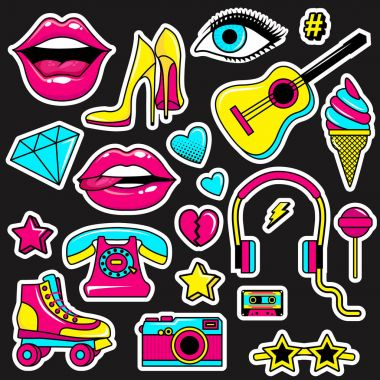 Fashion patch badges with lips, hearts,shoes, lipstick,cosmetics, stars and other elements with white stroke. Set of stickers and patches in cartoon 80s-90s comic style in vector.