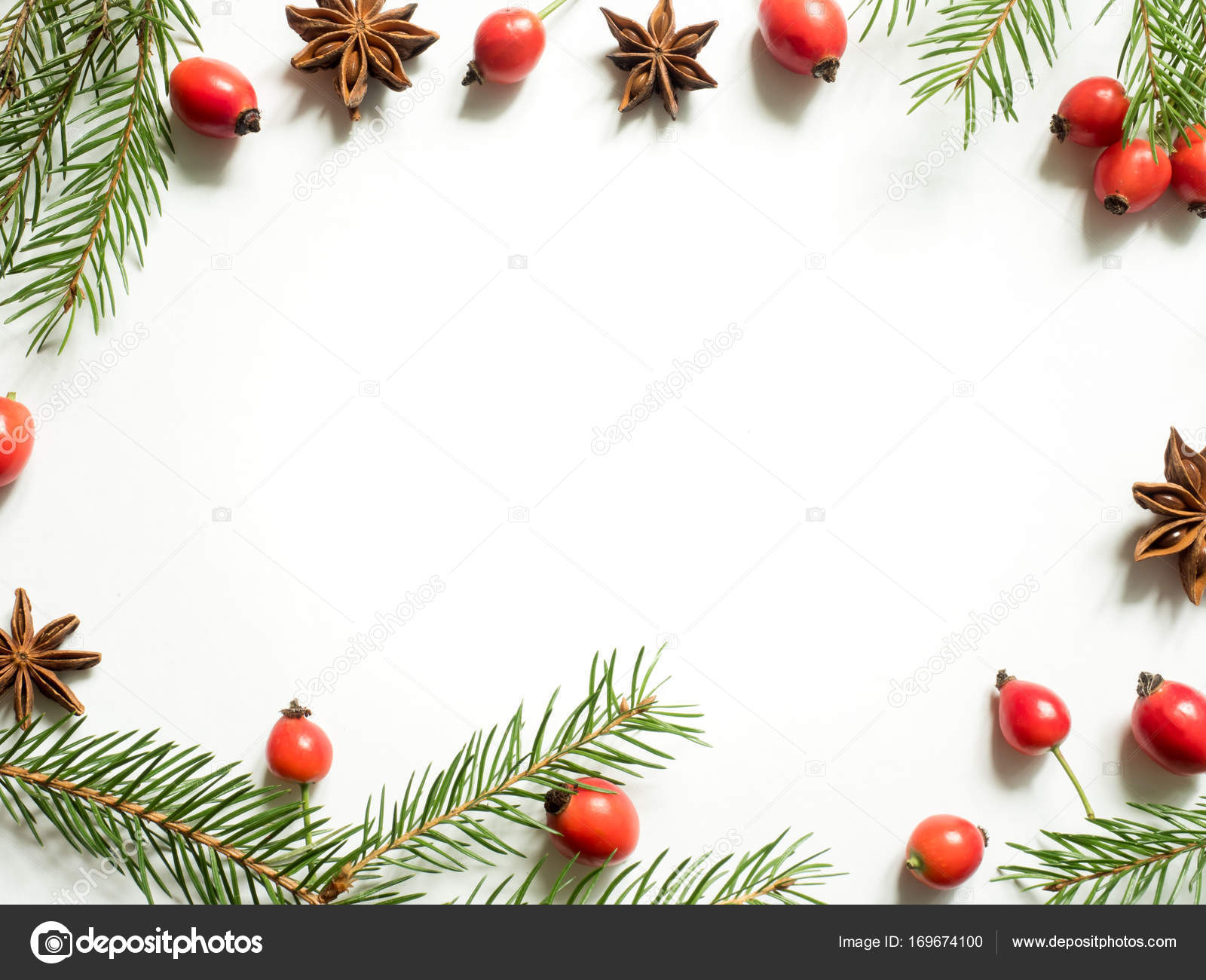 Christmas decorations on a white background, berries rose hips ...