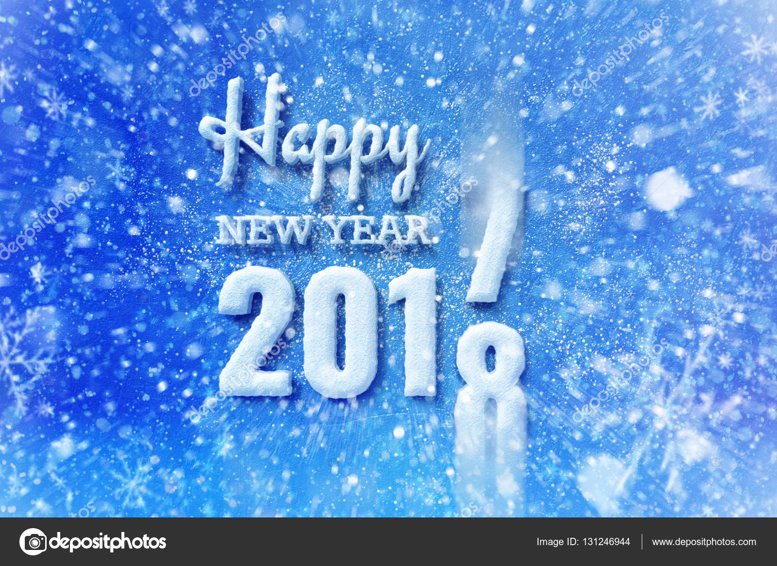 New Year 2018 Text With Snow Effect